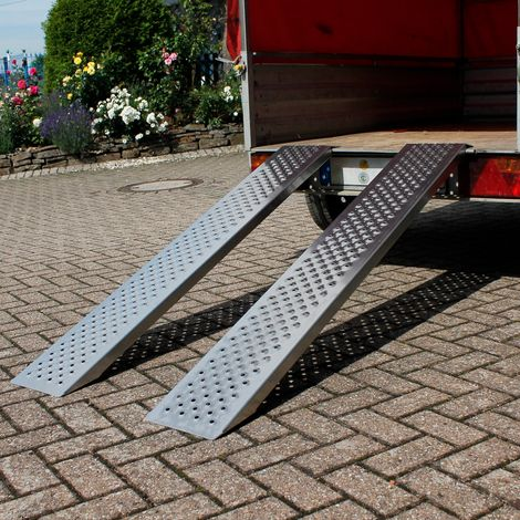 2x Rampas de carga riel carril de entrada aluminio antideslizante 400 kg 149 cm