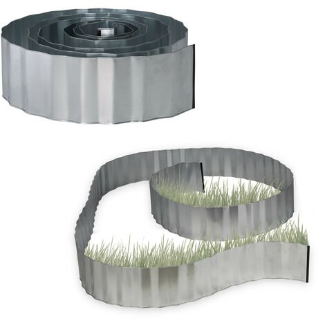 2x Rasenkante verzinkt, Beetumrandung Metall, Beeteinfassung als Wurzelsperre, LxH: 5 m x 16 cm, flexibel, silber, grau