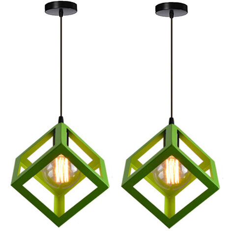 2X Retro Ceiling Light Modern Hanging Lamp Square Pendant Light (Color:Green) Metal Iron Cage Pendant Lamp Creative Geometric Pendant Lamp