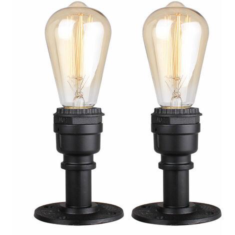 2x Retro Industrial Ceiling Light Metal Iron Chandelier Creative Antique Pendant Light for Loft Bar Cafe Black