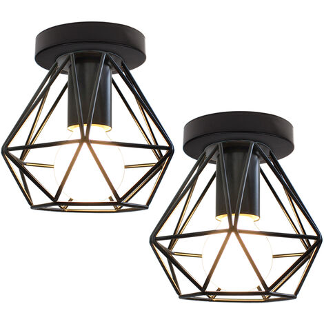 (2x) Retro Industrial Chandelier Metal Cage Ceiling Light Creative Vintage Pendant Light for Indoor Bar Club Black