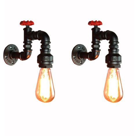 """main image of """"2X Retro Industrial Wall Sconce Creative Tube Pipe Wall Lamp Bedside Loft Wall Light Vintage Wall Light E27"""""""