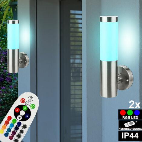 2x RGB LED lámparas de pared lámpara de exterior CONTROL REMOTO fachadas lámparas de jardín de acero inoxidable regulables