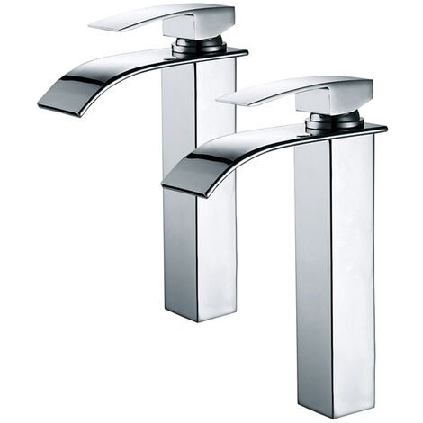 2x Robinets Salle de Bain Haut Bec Cascade Mitigeur de Lavabo Robinetterie pour Vasque Chromé Design Moderne - Homelody