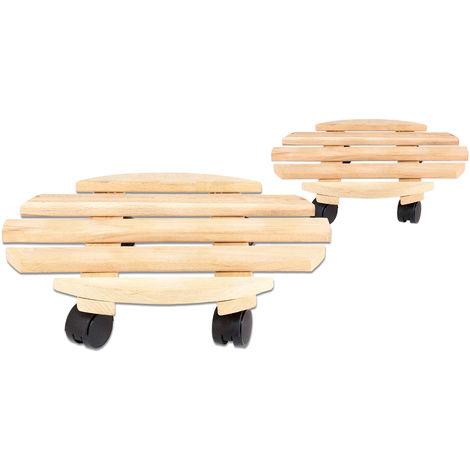 2x Rolluntersetzer Pflanzroller 35 cm - Max. 100 kg Traglast - Aus Buchenholz - Stabil & robust - Für Pflanztöpfe, Möbel & schwere Gegenstände -