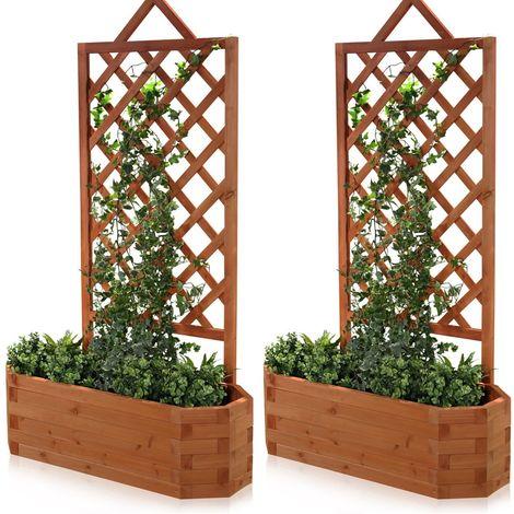 2x Rose voûte, pergola, tirailler, plantoir, treillis, bac à fleurs, jardinière, balconnière, bois