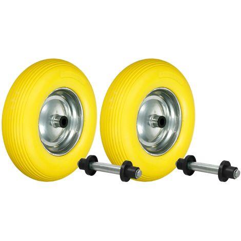 """2x Rueda caretilla PU 15"""" caucho de neumático 4.80/4.00-8 390 mm + barra eje"""
