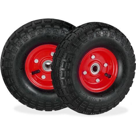 2x Ruote per Carrello 4.1/3.5-4, Gomme di Scorta Carriola, Asse 16 mm, fino 136 kg, 260 x 85 mm, nero-rosso