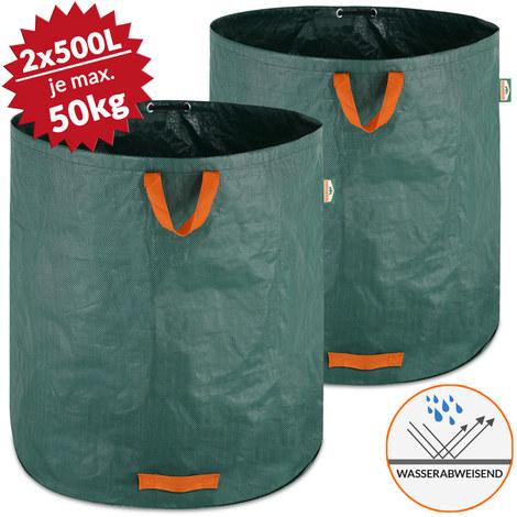 2x Sacs De Jardin 500l 50 Kg Sac De Dechets Ordures Vegetaux Tissu