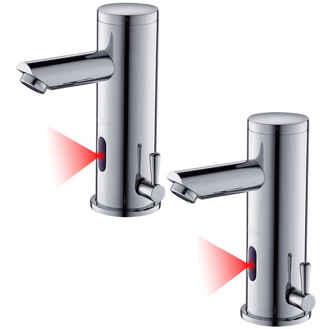 2X Sensor Automático Grifo de Lavabo para Comercial, Sin-contacto Mezclador Agua Fría y Caliente Griferia de Baño