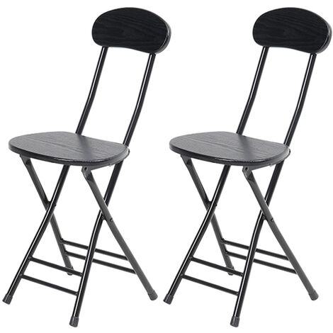 """main image of """"4x Small Dining Chair Foldable Wood Metal Kitchen Dinner Seat Space Saving, Black"""""""