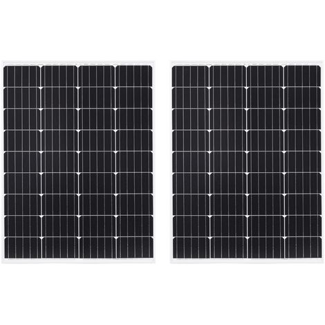2x Solar Panels 100W Monocrystalline Aluminium and Safety Glass