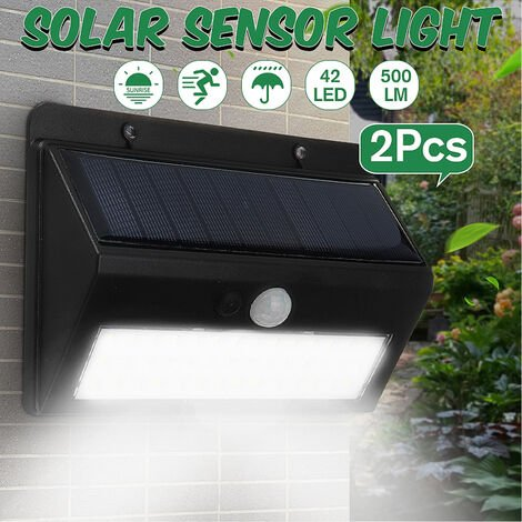 2X Solar Wall Light 42LED Motion Sensor Garden Lighting Outdoor Lamp 3 Mode