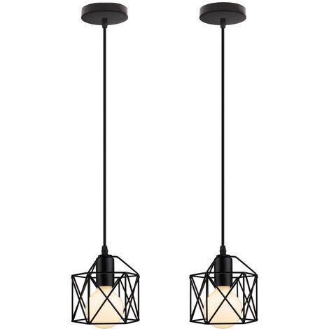 (2x) Square Cage Pendant Light Retro Metal Chandelier Black Industrial Ceiling Light for Bedroom Cafe Bar (