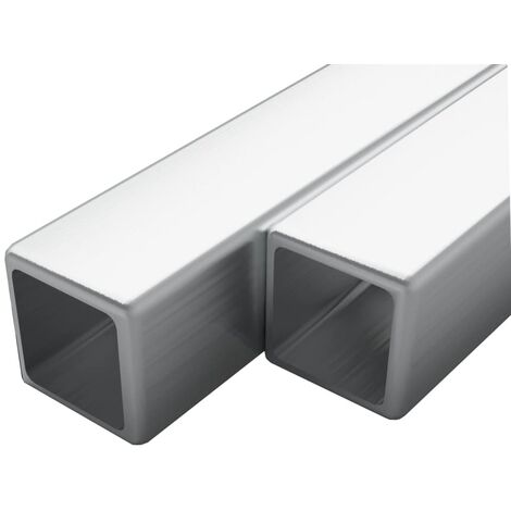 2x Stainless Steel Tubes Square Box Section V2A 2m 15x15x1.5mm