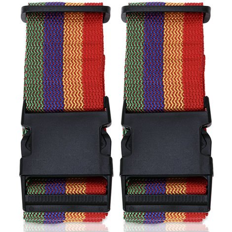 2x Suitcase Strap Red Yellow Blue Green Red-Yellow-Green-Blue