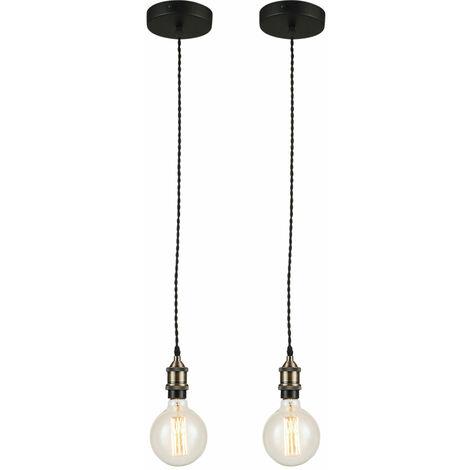 2x Suspension luminaire salon E27 suspendu plafonniers plafonniers marron antique