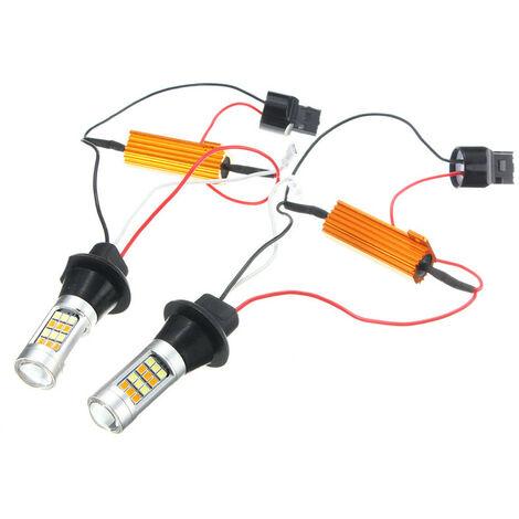 2x T20 7440 42 SMD 2835 LED DRL Lámpara Señal de luz de circulación diurna Canbus 1000LM