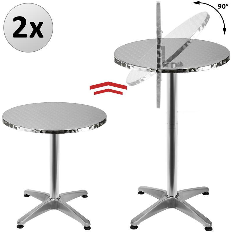 2x Table de bar pliable 2en1 alu hauteur réglable - 70cm/110cm - Cuisine  jardin