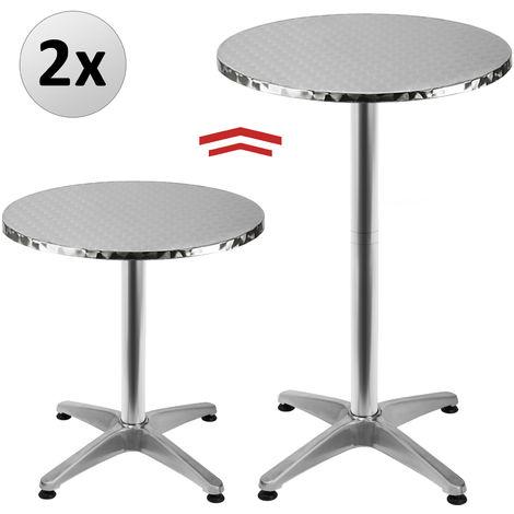 2x Table de bar - Table haute - Bistrot Aluminium - réglable en hauteur