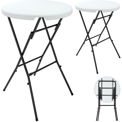 2x Tables pliantes - Tables bistrot jardin - Blanc - Rondes d ...