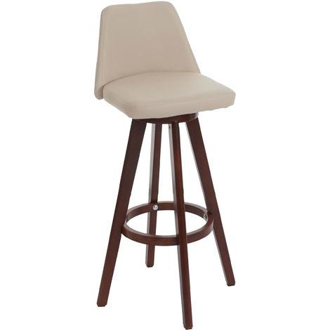 2x tabouret de bar Boras, chaise de comptoir, bois, similicuir, rotatif
