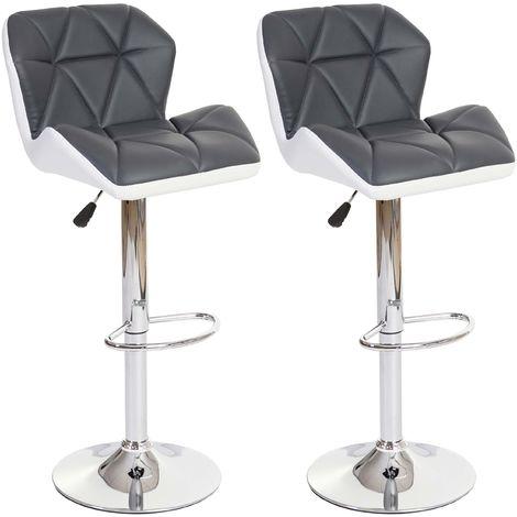 2x tabouret de bar HHG-156, chaise de comptoir, similicuir, rotatif ~ marron