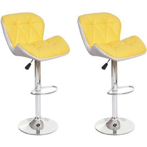 2x Tabouret de bar HHG-156, tabouret pour comptoir, réglable en hauteur, similicuir ~ jaune