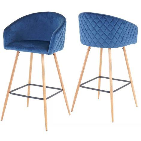 2x tabouret de bar HHG-201, chaise bar/comptoir, avec dossier, tissu ~ velours, couleur pétrole