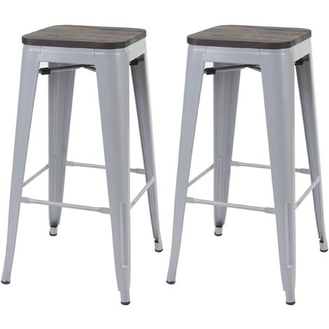 2x tabouret de bar HHG-392 avec siège en bois, chaise de comptoir, métal, design industriel, empilable