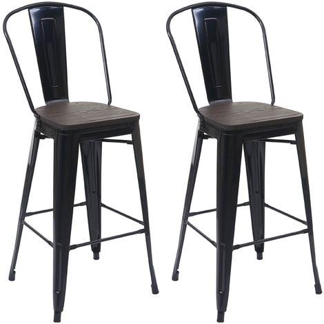 2x tabouret de bar HHG-407 avec siège en bois, chaise comptoir avec dossier, métal, design industriel
