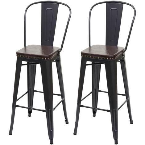 2x Tabouret de bar HHG-445c,métal, similicuir Chesterfield, pour gastronomie,design industriel ~ noir-marron