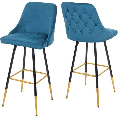 2x tabouret de bar HHG-665, chaise de bar/comptoir, design rétro, velours, haubans/pieds dorés