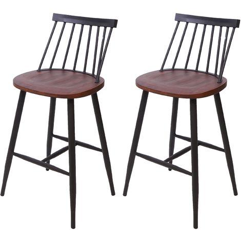 2x tabouret de bar HHG-875, chaise, bois massif, rétro, métal, avec repose-pied, gastronomie ~ vintage marron