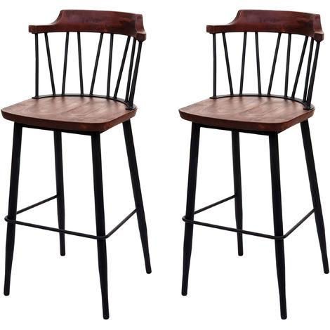 2x tabouret de bar HHG-877b, chaise bar, bois massif, rétro,métal, repose-pied, gastronomie