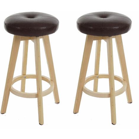 2x tabouret de bar Navan, chaise de comptoir, bois, similicuir, rotatif