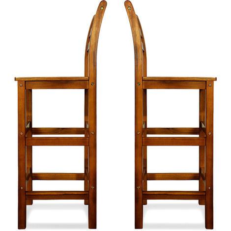2x Tabouret haut en bois acacia bar dossier repose-pied 110x40x36cm bistrot