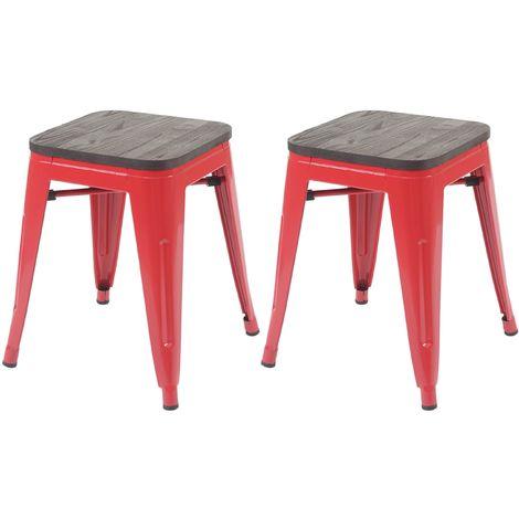 2x tabouret HHG-397 avec siège en bois, tabouret en métal, design industriel, empilable