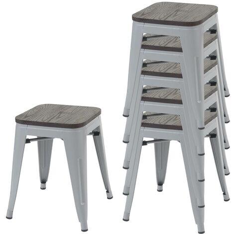 2x tabouret HHG-771, avec siège en bois, métal, style industriel, empilable ~ blanc