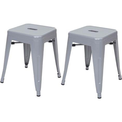 2x tabouret HHG-804, tabouret en métal, design industriel, empilable