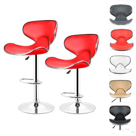 2x Tabourets de Bar avec Dossier en forme de Papillon 85-105 cm Rouge