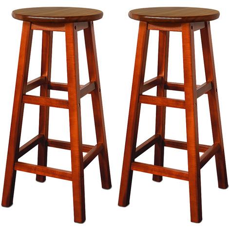 2x Tabourets de bar en bois-Assise ronde repose-pied 76x34x34cm Tabouret bistrot