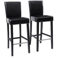 2x tabourets de bar en PU avec dossier chaise rembourrée noir LDC31B