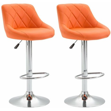 2x Tabourets de bar en simili-cuir orange pivotant avec repose-pieds - or