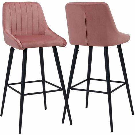 2x tabourets de bar en tissu velours rose avec dossier et repose-pieds métal noir - noir