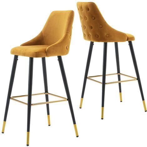 2x tabourets de bar en velours jaune avec dossier capitonné et repose-pieds métal noir et or - noir