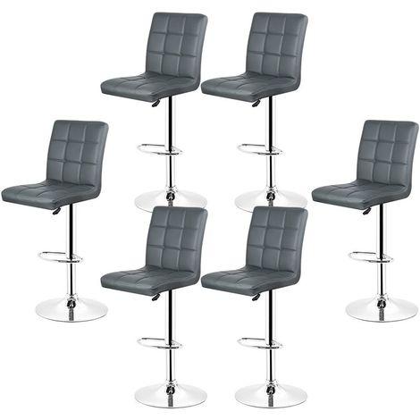 2x Tabourets de bar fautruil chaise en hauteur reglable 9 grilles en simili (Gris)