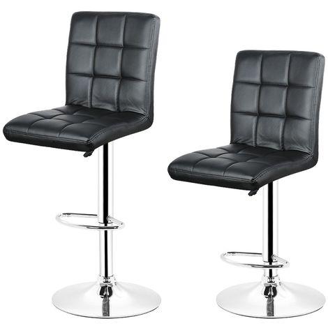 2x Tabourets de bar fautruil chaise en hauteur reglable 9 grilles en simili (Noir)