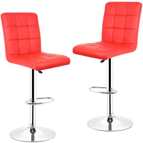2x Tabourets de bar fautruil chaise en hauteur reglable 9 grilles en simili (rouge)