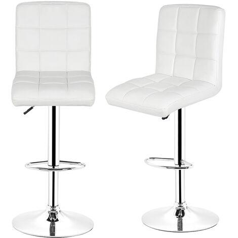 2x Tabourets de bar Sans accoudoirs chaise en hauteur reglable 9 grilles en simili (blanc) - Blanc